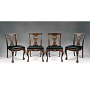 Set of Four 19th C. Swedish Chippendale Influenced Side Chairs