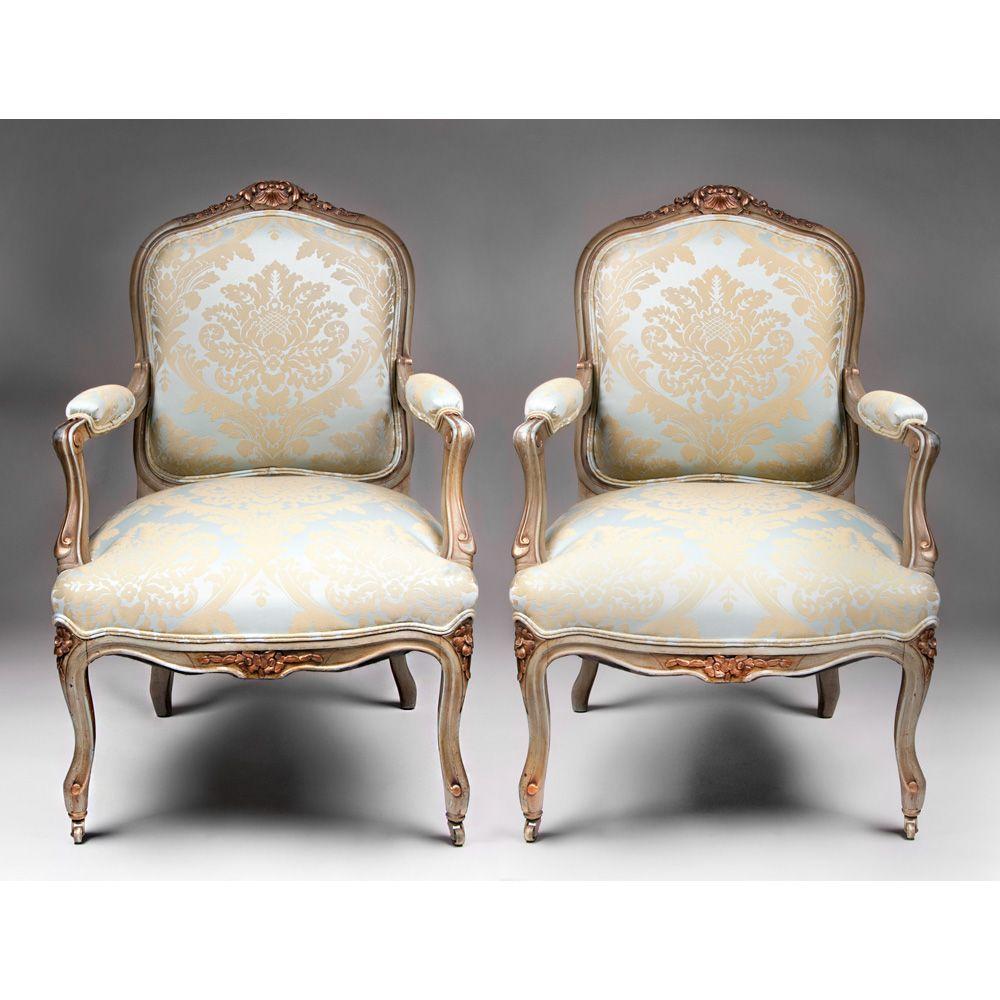 pair of 19th c painted louis xv fauteuils a la reine or. Black Bedroom Furniture Sets. Home Design Ideas