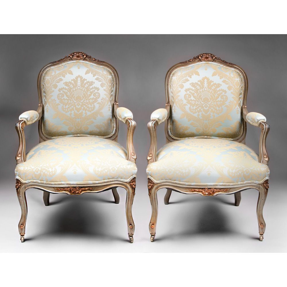 Pair Of 19th C Painted Louis Xv Fauteuils A La Reine Or Chairs From Piatik On Ruby Lane