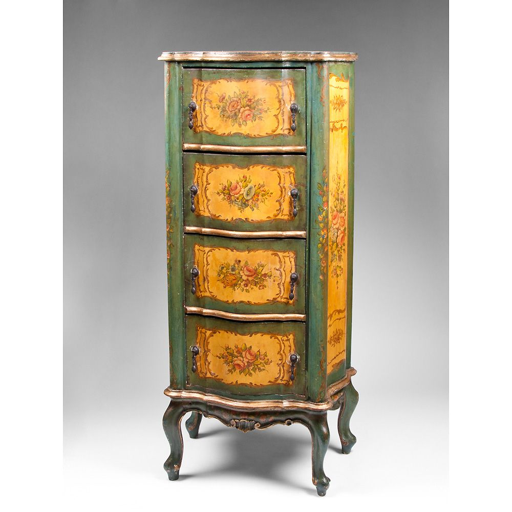 venetian lacca povera chiffonier or tall chest of drawers. Black Bedroom Furniture Sets. Home Design Ideas
