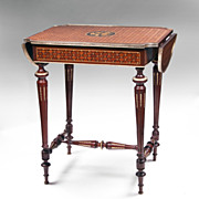 Louis XVI Bois de Satine Parquetry Drop Leaf Table
