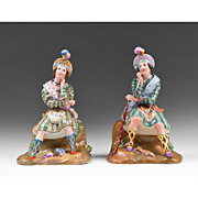 19th Century Paris Porcelain Figural Perfume Bottles Manner of Jacob Petit