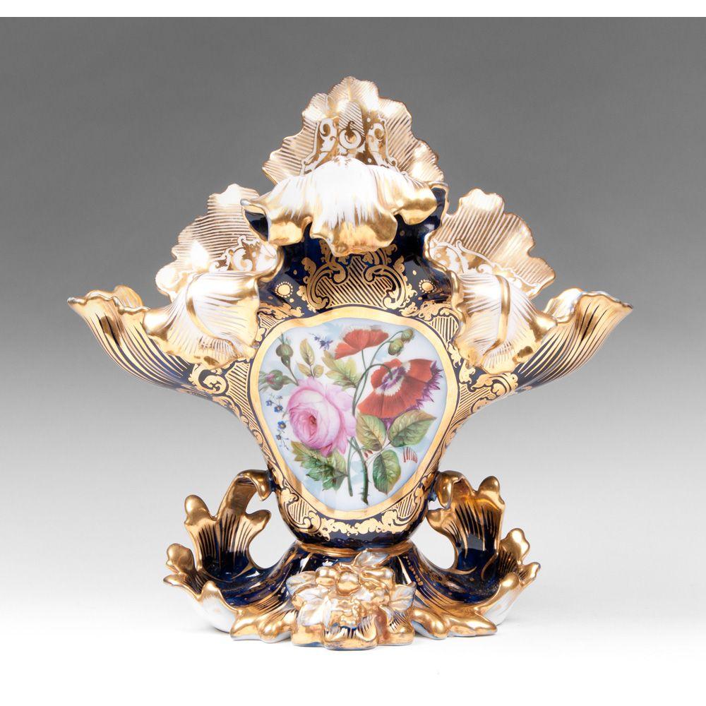 Paris Porcelain Hand Decorated Vase Fitted For Lamp Pia: Vieux Paris Porcelain Rococo Revival Cobalt Vase, 1860