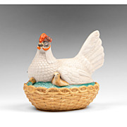 19th C. French Bisque Hen on Nest With Chicks
