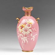1890 Pink Ground Slip Painted Royal Crown Derby Vase