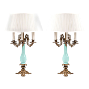 French Art Nouveau Opaline And Ormolu Candelabras Fitted As Lamps
