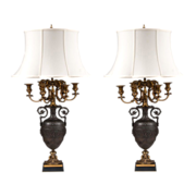 Napoleon III French Barbedienne Bronze Candelabras Fitted As Lamps