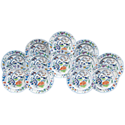 Set of Twelve Davenport Plates, Pattern Number 6 Color, 1845