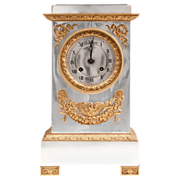 Late 19th C. French Empire Bronze And Silver Mantel Clock