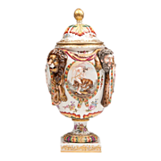 Ernst Bohne Sons Capodimonte Style Porcelain Bas Relief Urn With Cover