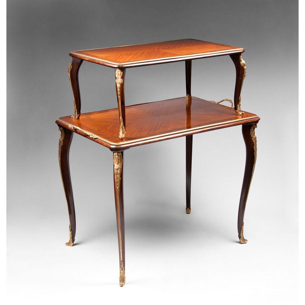 Louis xv style two tier tea table etagere ormolu mounted - Table de chevet louis xv ...