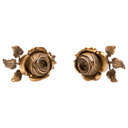 Pair of Mid 20th C. French Ormolu Rose Cast Tiebacks