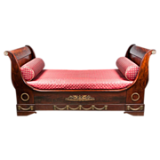 19th C. French Empire Mahogany Ormolu Mounted Sleigh Bed