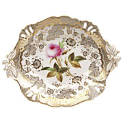 1830 English Ridgway Botanical Dessert Low Tazza