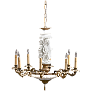 Mid 20th C. Italian Alabaster Chandelier With Biscuit Figural Column