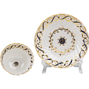 18th C. English Soft Paste Porcelain Trio, Attributed To Caughley