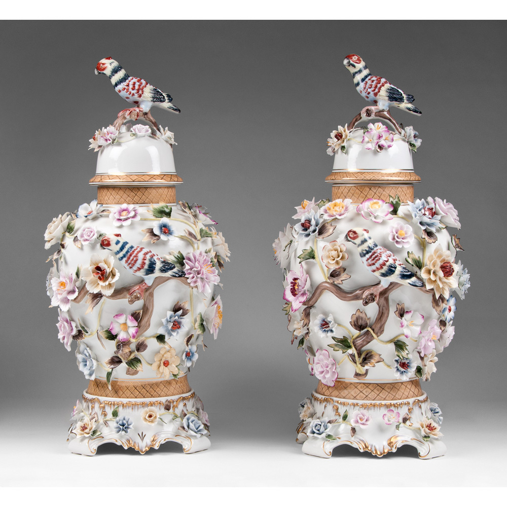 Richard Klemm Dresden Porcelain Urns Floral And Bird Encrusted From Piatik On Ruby Lane