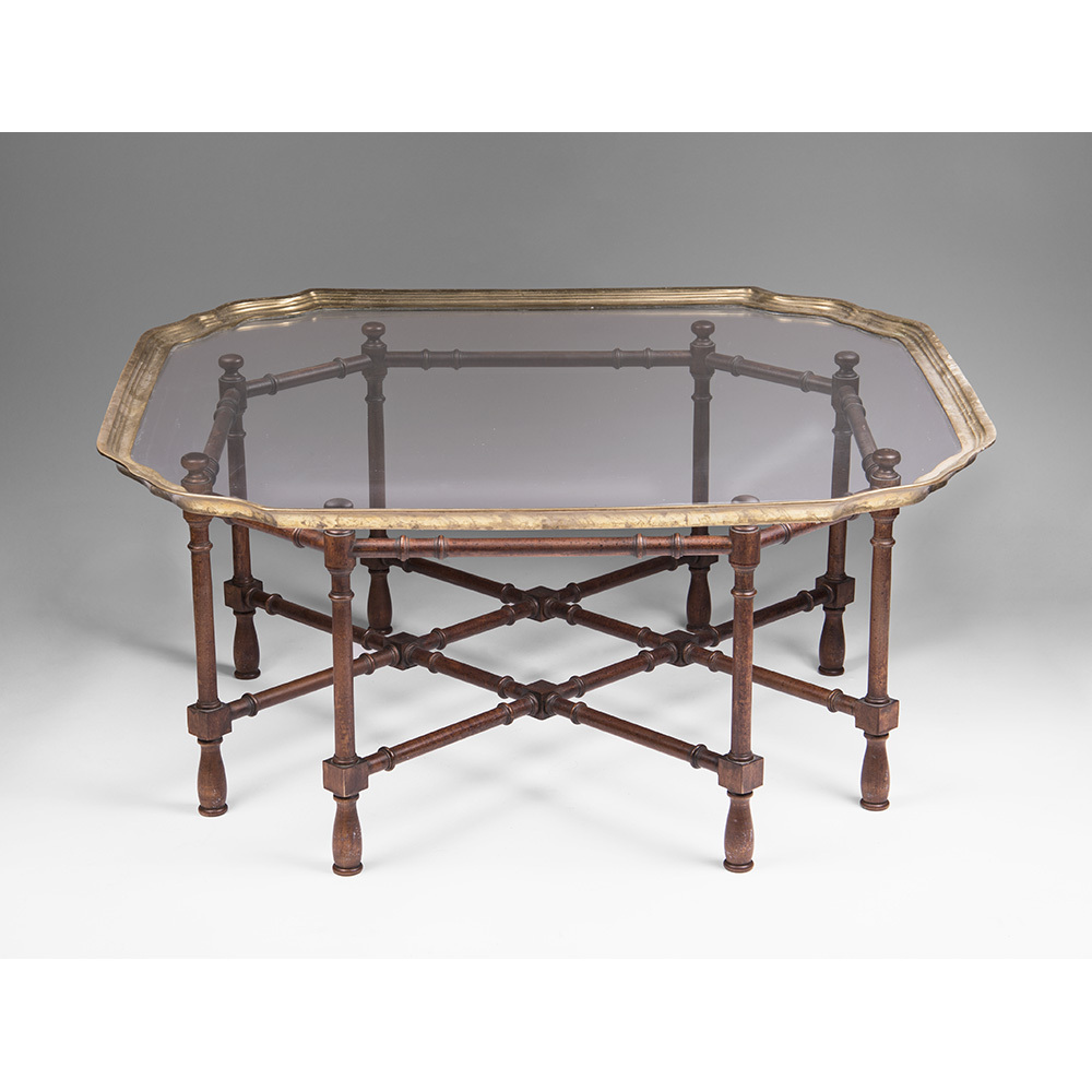 vintage baker furniture faux bamboo coffee table with glass top from