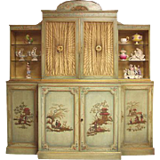 Painted Italian Japonaise Style China Cabinet or Cupboard