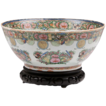 Late 19th C. Chinese Export Rose Canton Punch Bowl