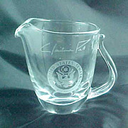 US Senate Senator Claiborne Pell Signature Glass  Pitcher