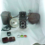 Rolleicord IV TLR Camera + Case + Flash + Filters + Hood GWO
