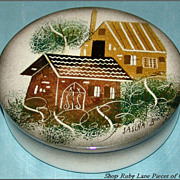 Sascha Brastoff Rooftops Covered Dish California Pottery
