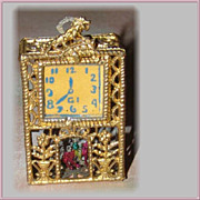 Antique Miniature Metal Filigree Clock for the Doll House