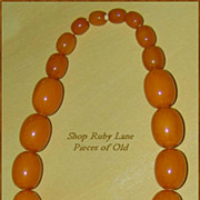 "17"" Butterscotch Bakelite Chunky Bead Necklace"