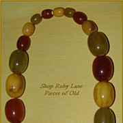 Early Tri-Color Heavy Bakelite Bead Necklace Pristine!