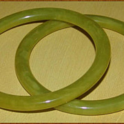 Pair of Narrow Bakelite Bangles Pea Soup Green