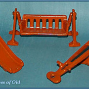 1920's Kilgore Cast Iron Doll House Furniture 3pc Play-Ground Set