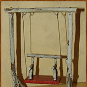 German Folk Art Miniature Twig Doll Swing 1920's