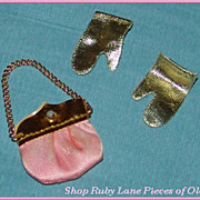 "Vintage Purse and Gloves for Barbie Doll ""Pink Premiere"" Set #1596 c.1969"