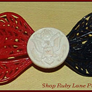 Patriotic Red White Blue Plastic Pin Brooch WWII era