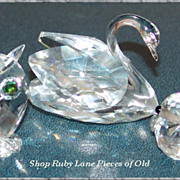 3 Swarovski Crystal Animal Figurines Swan, Owl and Bird