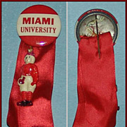 1930's Miami University Football Pin Badge w/ charm
