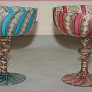 4 Latticino Venetian Art Glass Champagne Stems