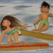 Vintage Annalee Surfer Boy & Surfer Girl Dolls c.1966
