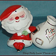 Holt Howard Ceramic Salt & Pepper Shakers, Santa Claus & Gift Bag