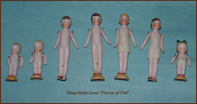 Set of 7 Miniature German Bisque Dolls 1920's Flapper Era