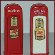 1950's Red Plastic Gas Station Salt & Pepper Shakers Mobilgas