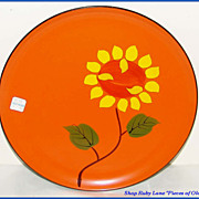 Vintage Japanese Lacquered Plate Vibrant Sunflower MINT