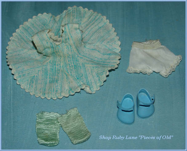 Vogue Ginny Doll play dress, teal & white c.1956