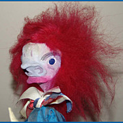 "Hippie-era Folk Art ""Punch"" Character Doll with Wild Pink Hair"