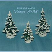 3 Miniature German Christmas Trees with mica snow