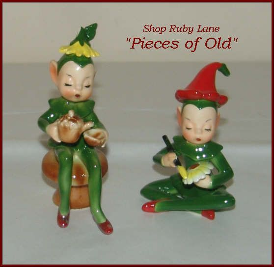 Pair of Josef Ceramics Forest Pixies or Elves