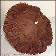 Antique Doll's Brown Silk Parasol Umbrellas with hinged top