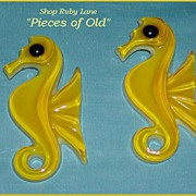Pair of Yellow Lucite Sea Horse wall plaques 1960's era