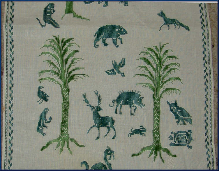 Antique Italian Table Runner Cross Stitch Sampler Asolo Linen